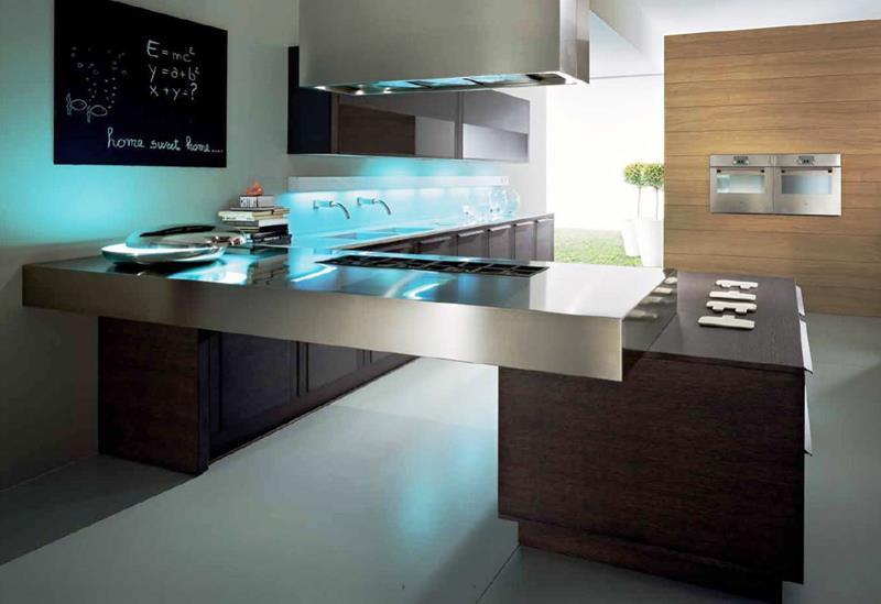 21 Sleek and Modern Metal Kitchen Designs-11