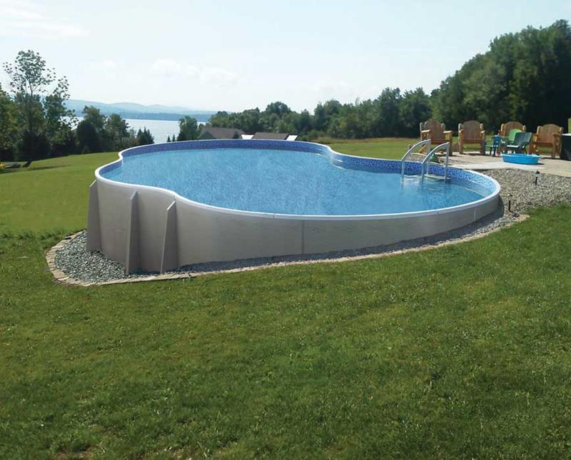 Unique Shape Above Ground Pool Deck Overlooking Sea Shore Design