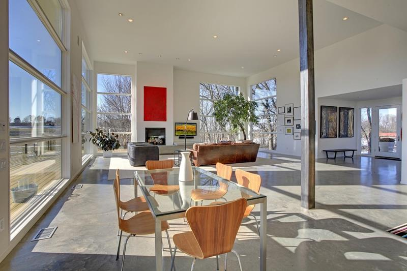 21 Dining Rooms With Beautiful Concrete Floors-2