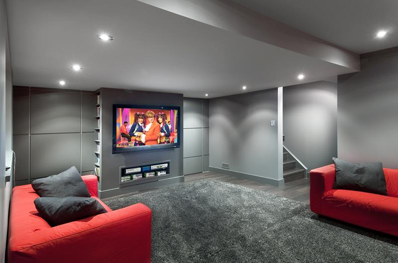 22 Finished Basement Contemporary Design Ideas-4