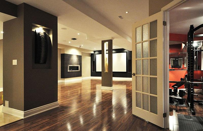 22 Finished Basement Contemporary Design Ideas-title