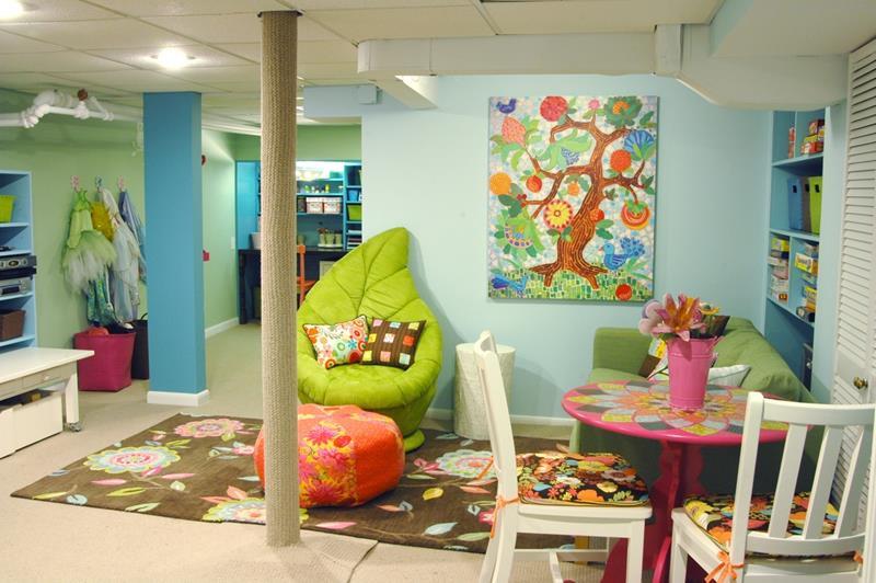 image named 24 Child Friendly Finished Basement Designs title