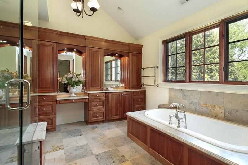26 Beautiful Wood Master Bathroom Designs-16