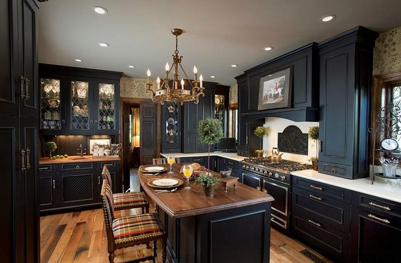 20 Beautiful Kitchens with Dark Kitchen Cabinets Design-16