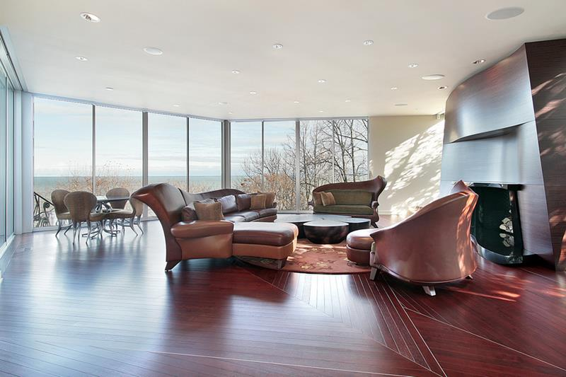 Family room in contemporary home with lake view