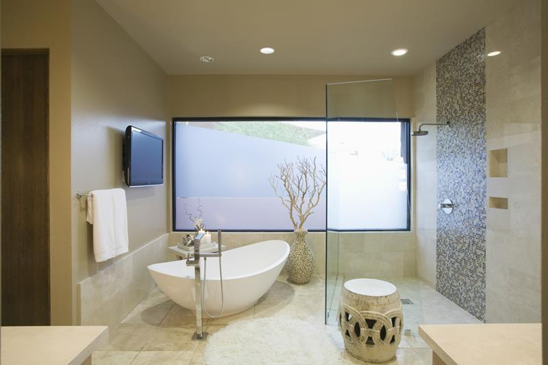 image named 17 Bathroom Trends for 2017 and 3 on the Way Out title