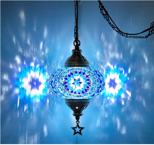 (20 Colors) DEMMEX 2019 Swag Plugin Turkish Moroccan Mosaic Ceiling Hanging Light Lamp Chandelier Pendant Fixture Lantern, Hardwired OR Plugin with 15feet Cord & Chain
