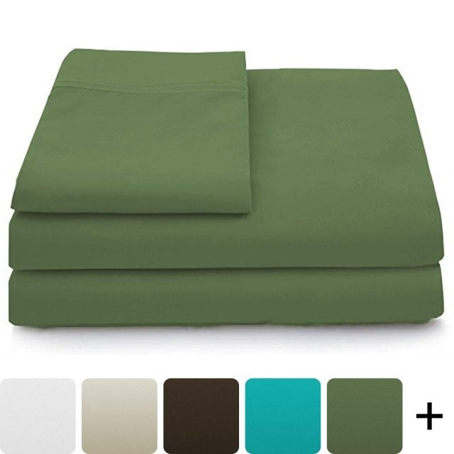 Cosy House Collection Luxury Bamboo Bed Sheet Set – Hypoallergenic Bedding Blend from Natural Bamboo Fiber – Resists Wrinkles – 4 Piece – 1 Fitted Sheet, 1 Flat, 2 Pillowcases – Queen, Saga Green