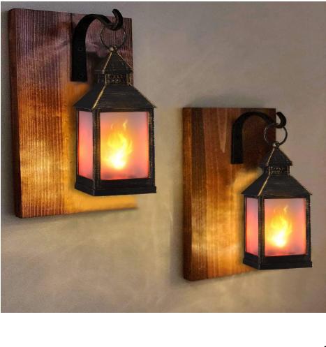 """zkee 11"""" Vintage Style Decorative Lantern, Flame Effect LED Lantern,(Golden Brushed Black,4 Hours Timer) Indoor Lanterns Decorative, Outdoor Hanging Lantern, Decorative Candle Lanterns (Set of 4)"""