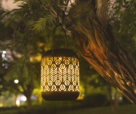 LeiDrail Solar Lantern Outdoor Garden Hanging Lanterns Metal Decorative Light Warm White LED Waterproof Landscape Lighting for Table Pathway Party Yard - 2 Pack