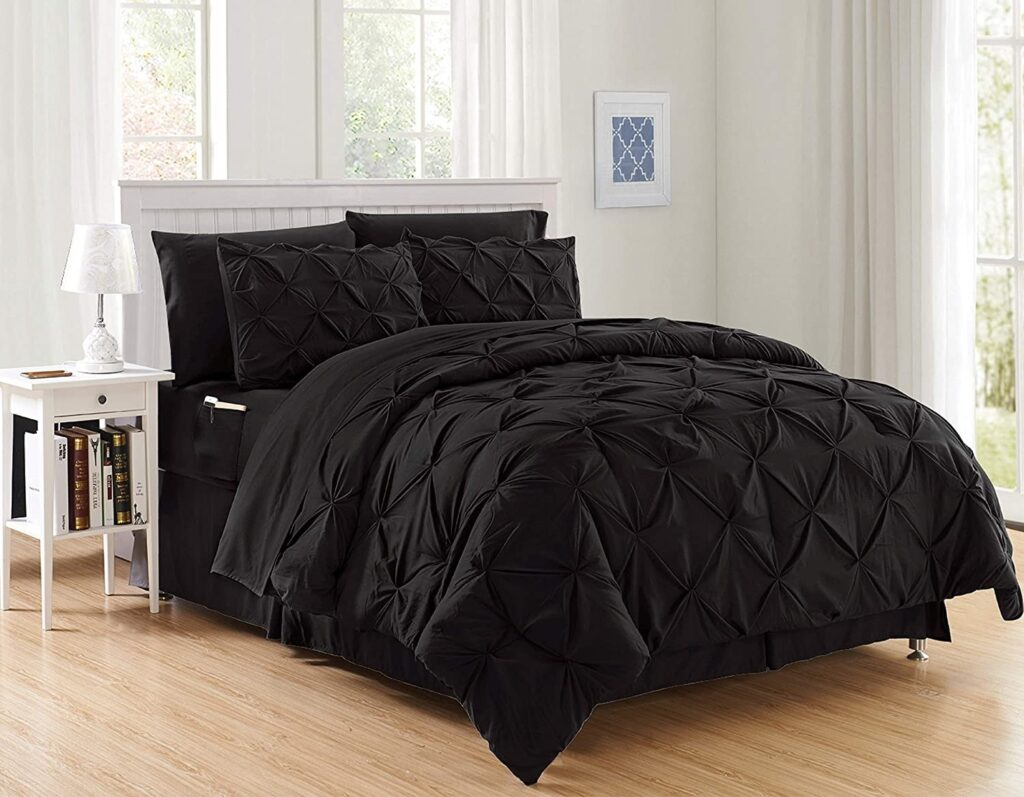 Elegant Comfort Luxury Best, Softest, Coziest 8-piece Bed - in - a – Bag Comforter Set on Amazon Silky Soft Complete Set Includes Bed Sheet Set with Double Sided Storage Pockets, King / Cal King, Black