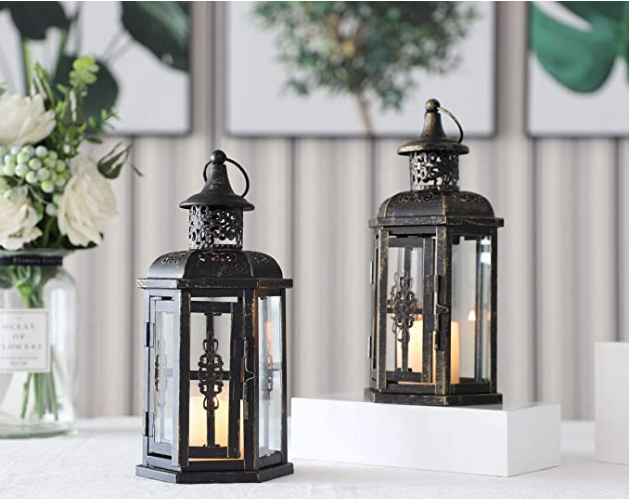 JHY DESIGN Set of 2 Decorative Lanterns -10 inch High Vintage Style Hanging Lantern Metal Candleholder Black with Gold Brush