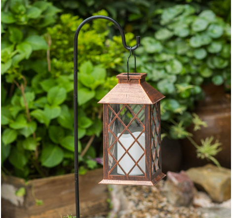 TAKE ME Solar Lantern, Outdoor Garden Hanging Lantern-Waterproof LED Flickering Flameless Candle Mission Lights for Table, Outdoor, Party