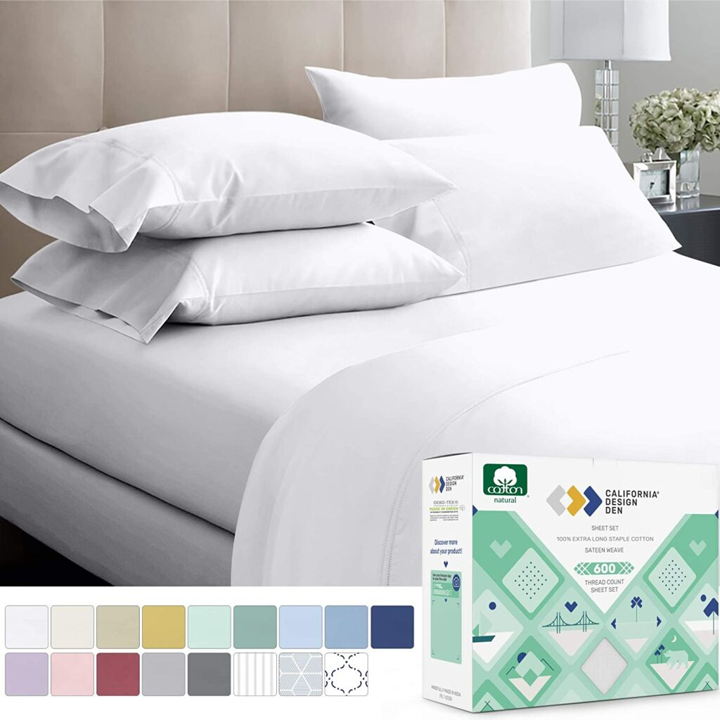 600 – Thread – Count Best 100% Cotton Sheets & Pillowcases Set – 4 PC Pure White Extra Long-staple Combed Cotton Bedding Queen Sheet for Bed, Fits Mattress 16'' Deep Pocket, Soft & Silky Sateen Weave