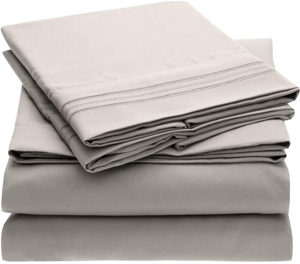 Mellanni Bed Sheet Set – Brushed Microfiber 1800 Bedding – Wrinkle, Fade, Stain Resistant – Hypoallergenic – 4 Piece (King, Light Gray)